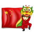 A boy doing the dragon dance in front of the flag vector image vector image