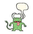 cartoon little devil with speech bubble vector image