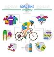 Road bike uniforms infographic vector image