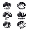 Black and white graphic mountain skier goggles vector image