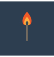 Burning match with orange fire light Flat design s vector image