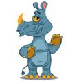 cute rhinoceros standing vector image