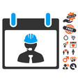 engineer calendar page icon with lovely bonus vector image