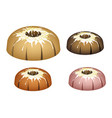 four bundt cake topped with sugar glaze and sprink vector image