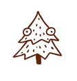 Hand Drawn Christmas Tree with Eyes vector image