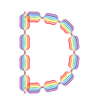 Letter D made in rainbow colors vector image