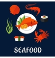 Seafood icons with fish sushi crab and shrimp vector image