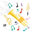 trumpet instrument with musical notes vector image