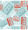 Vintage audio tapes pattern vector image