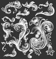 vintage floral decorative leaves design elements vector image