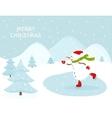 Snowman ice skating outdoors vector image