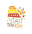 italy tourism logo template hand drawn vector image vector image