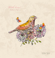 vintage greeting card with cute bird and vector image vector image