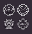 Set of Decorative Circle Frames with Hearts Happy vector image