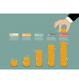 Business hand collect coin infographic vector image vector image