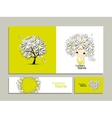 Business cards with floral girl for your design vector image vector image