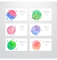 Business card templates with watercolor design vector image