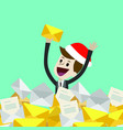 businessman or manager in christmas hat has a lot vector image