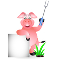 funny pig chef cartoon with fork and blank sign vector image