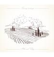 Tuscany Landscape hand drawn vector image