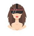VR helmet girl vector image