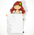 Cute girl with big blank banner vector image vector image