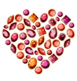 Jewellery heart made of different gems vector image vector image