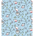 Birds and Cup of Tea Romantic Background vector image vector image