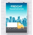 Trucker on road on brick wall vector image