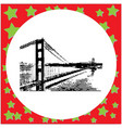 black 8-bit golden gate bridge in san francisco vector image
