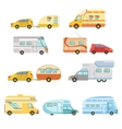 Camper Vans With Trailers Collection vector image