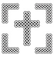 celtic style endless curved knot cross symbols vector image
