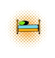 Single bed comics icon vector image