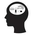 Man and thinking and medicine vector image