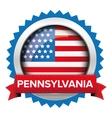 Pennsylvania and USA flag badge vector image