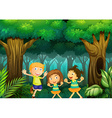 Three kids dancing in the forest vector image vector image