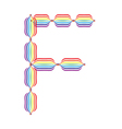 Letter F made in rainbow colors vector image vector image