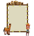 An empty signage with a cowgirl and a horse vector image
