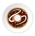 chocolate donut icon circle vector image