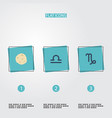flat icons comet goat scales and other vector image