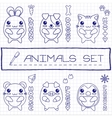 Hand drawn set of japanese style baby animals vector image