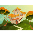 landscape with house and trees vector image