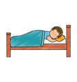 man sleeping on the bed vector image