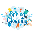 Spring Cleaning Letter Decorating And Equipment vector image