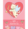 Valentine Day card with cat vector image