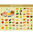 Food and drinks icons set Flat design icons vector image