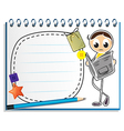 A notebook with a sketch of a man reading vector image vector image