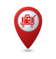suitcase on wheelbarrow icon red map pointer vector image vector image