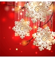 Red Christmas Card with gold snowflakes vector image vector image