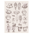 hand drawing alcohol coctails and ice cream vector image